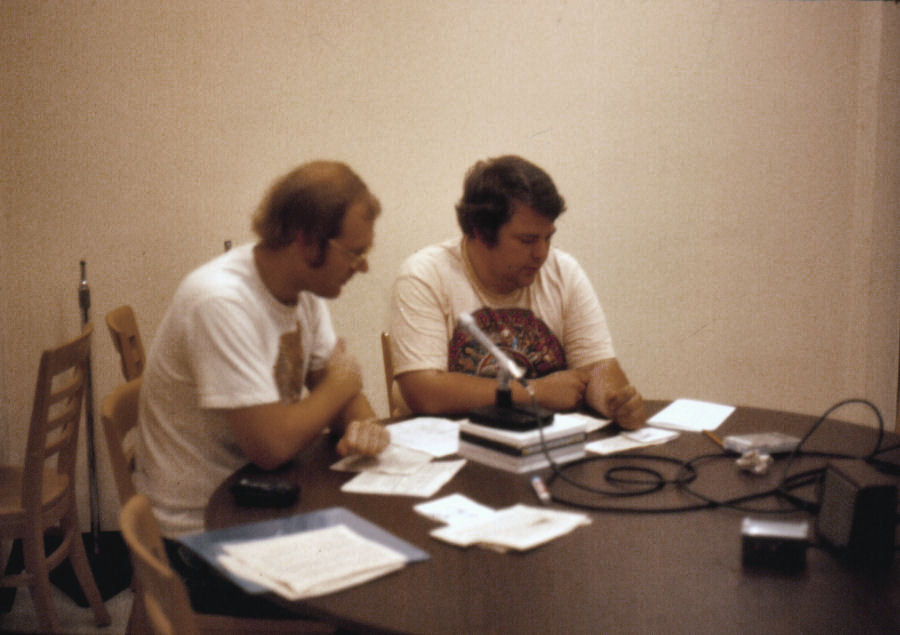 Dave Wigfield and Keith Davidson Reading the News on KCHO FM at Chico State University