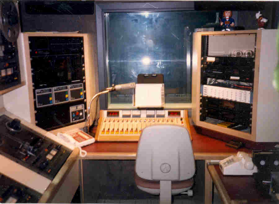 KKHI Production Room with Arrakis Audio Console, ITC Delta Cart Machines and Otari MX5050 Tape Machines