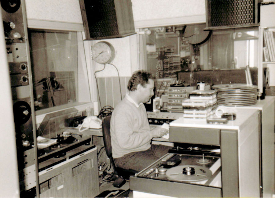 Michael Bower in the KKHI production room Circa 1979